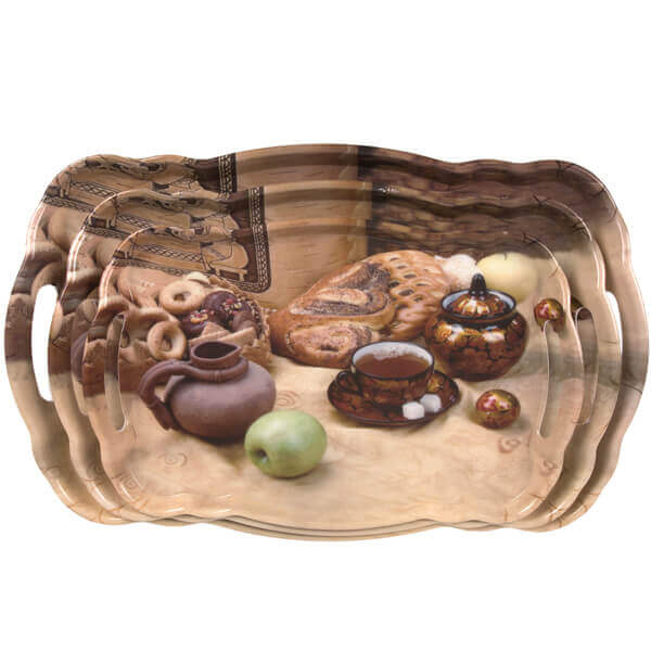 Unbreakable Dinner Set Melamine Serving Tray With Handles